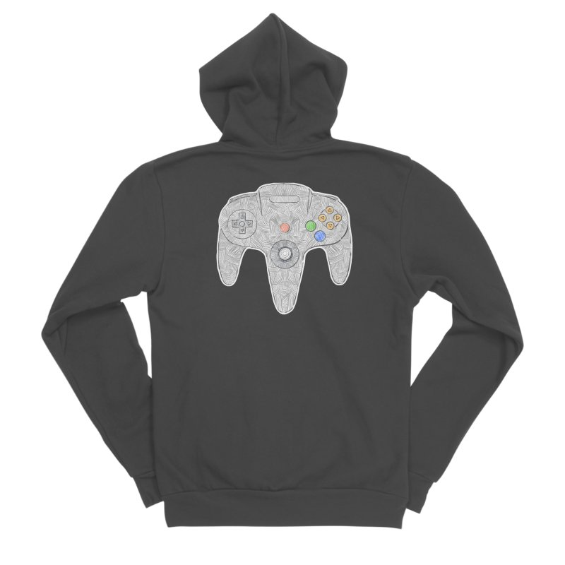 Gamepad SixtyFour - Grey Women's Sponge Fleece Zip-Up Hoody by Krist Norsworthy Art & Design