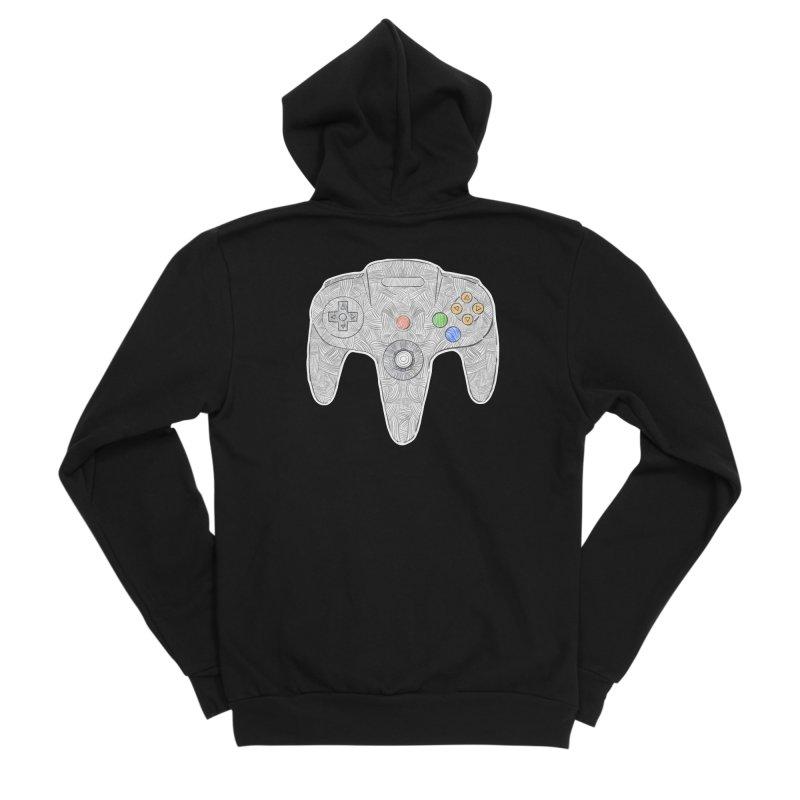 Gamepad SixtyFour - Grey Men's Sponge Fleece Zip-Up Hoody by Krist Norsworthy Art & Design