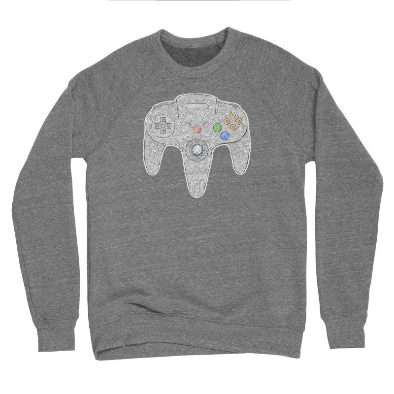 Gamepad SixtyFour - Grey Men's Sponge Fleece Sweatshirt by Krist Norsworthy Art & Design