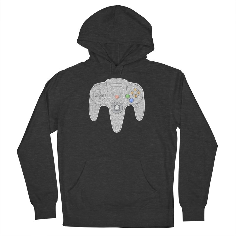 Gamepad SixtyFour - Grey Women's French Terry Pullover Hoody by Krist Norsworthy Art & Design