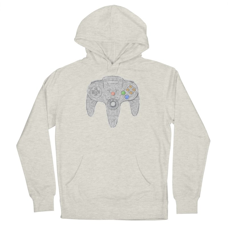 Gamepad SixtyFour - Grey Men's French Terry Pullover Hoody by Krist Norsworthy Art & Design
