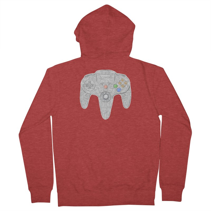 Gamepad SixtyFour - Grey Women's French Terry Zip-Up Hoody by Krist Norsworthy Art & Design