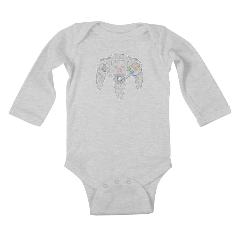 Gamepad SixtyFour - Grey Kids Baby Longsleeve Bodysuit by Krist Norsworthy Art & Design