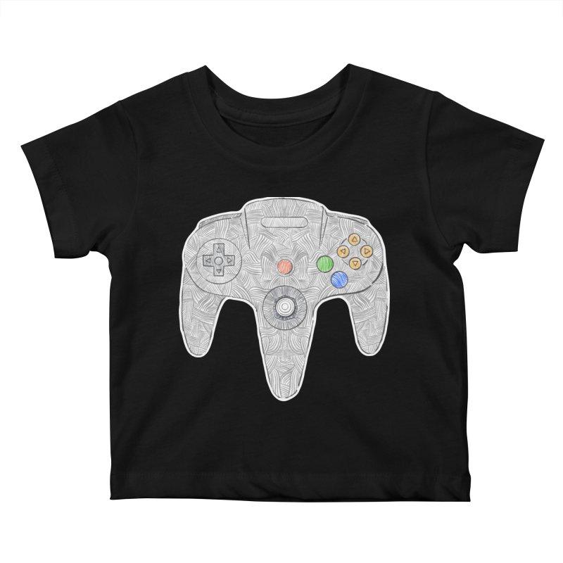 Gamepad SixtyFour - Grey Kids Baby T-Shirt by Krist Norsworthy Art & Design