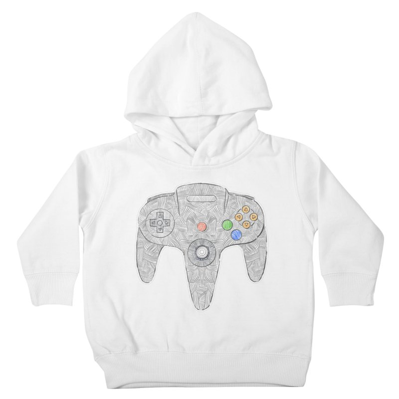 Gamepad SixtyFour - Grey Kids Toddler Pullover Hoody by Krist Norsworthy Art & Design