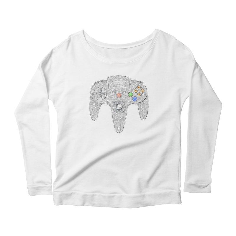 Gamepad SixtyFour - Grey Women's Scoop Neck Longsleeve T-Shirt by Krist Norsworthy Art & Design
