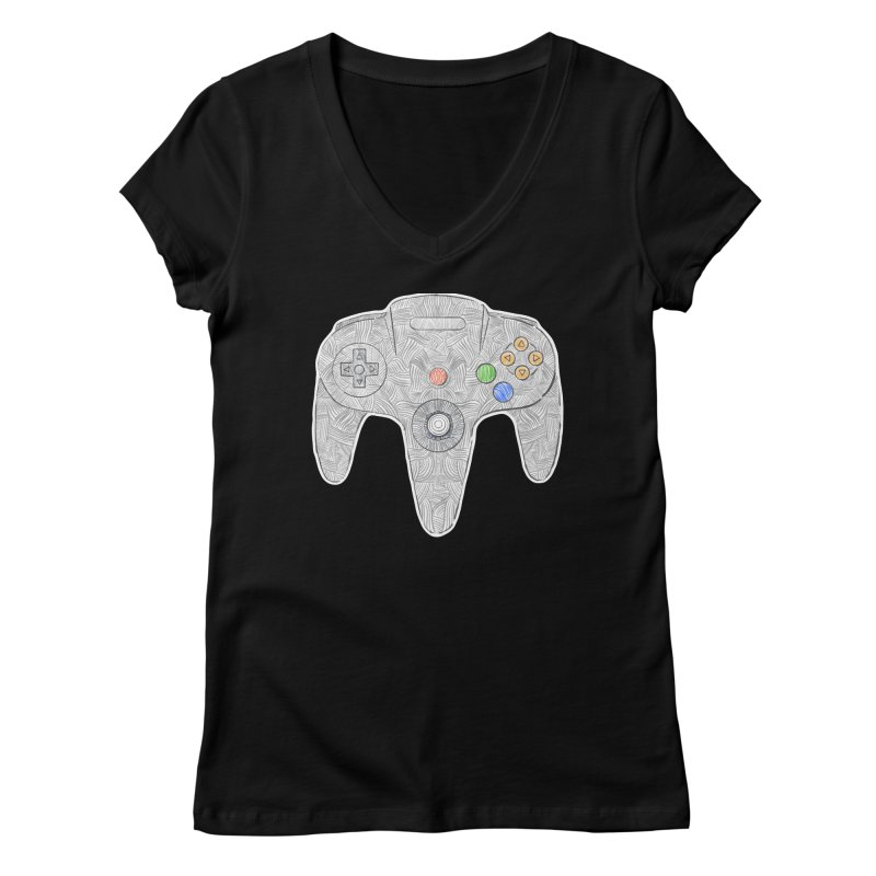 Gamepad SixtyFour - Grey Women's Regular V-Neck by Krist Norsworthy Art & Design