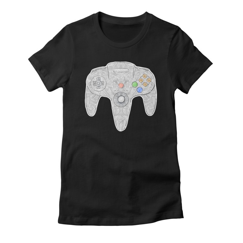 Gamepad SixtyFour - Grey Women's Fitted T-Shirt by Krist Norsworthy Art & Design