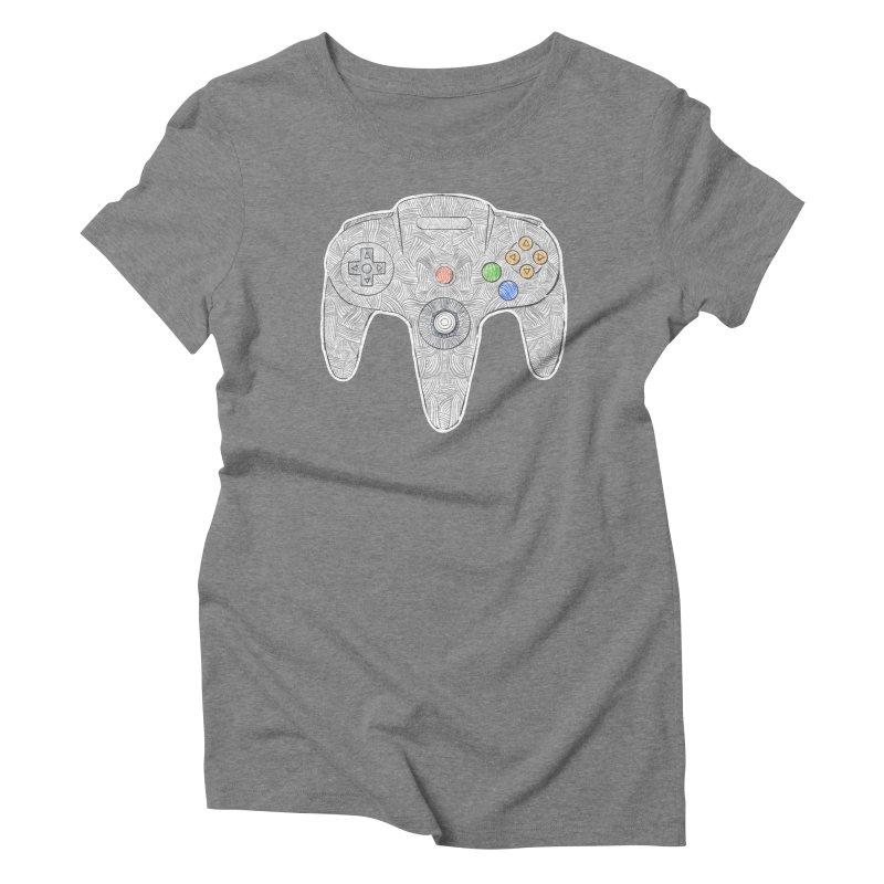 Gamepad SixtyFour - Grey Women's Triblend T-Shirt by Krist Norsworthy Art & Design