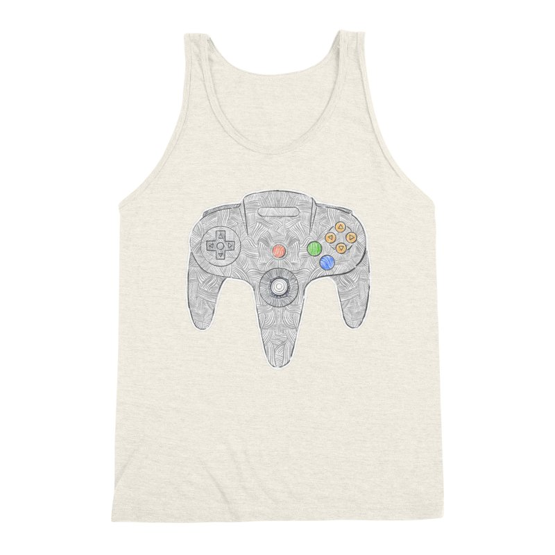 Gamepad SixtyFour - Grey Men's Triblend Tank by Krist Norsworthy Art & Design