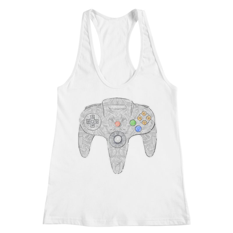 Gamepad SixtyFour - Grey Women's Racerback Tank by Krist Norsworthy Art & Design