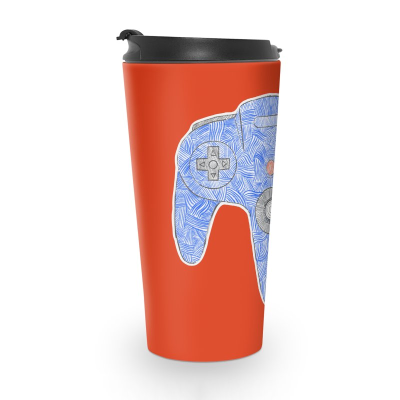Gamepad SixtyFour - Blue Accessories Travel Mug by Krist Norsworthy Art & Design