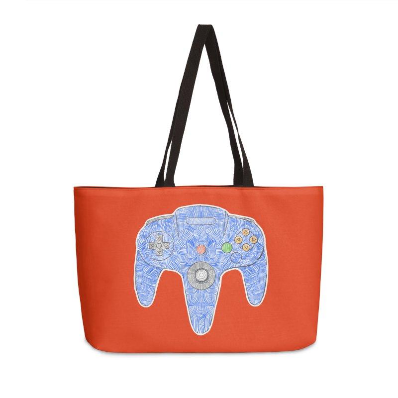 Gamepad SixtyFour - Blue Accessories Weekender Bag Bag by Krist Norsworthy Art & Design