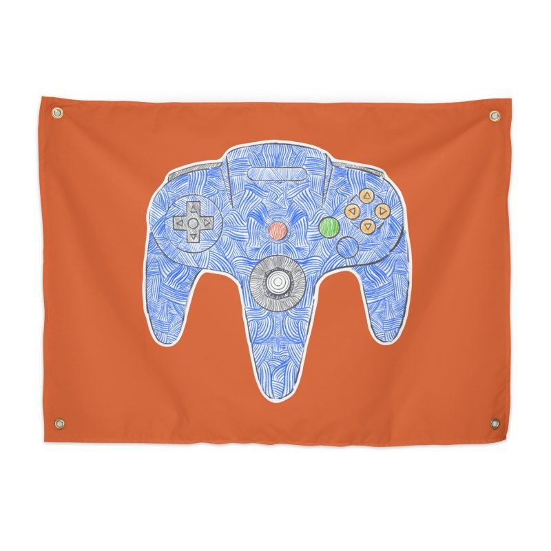 Gamepad SixtyFour - Blue Home Tapestry by Krist Norsworthy Art & Design