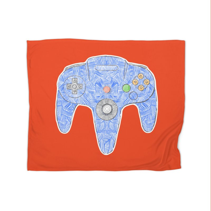 Gamepad SixtyFour - Blue Home Fleece Blanket Blanket by Krist Norsworthy Art & Design