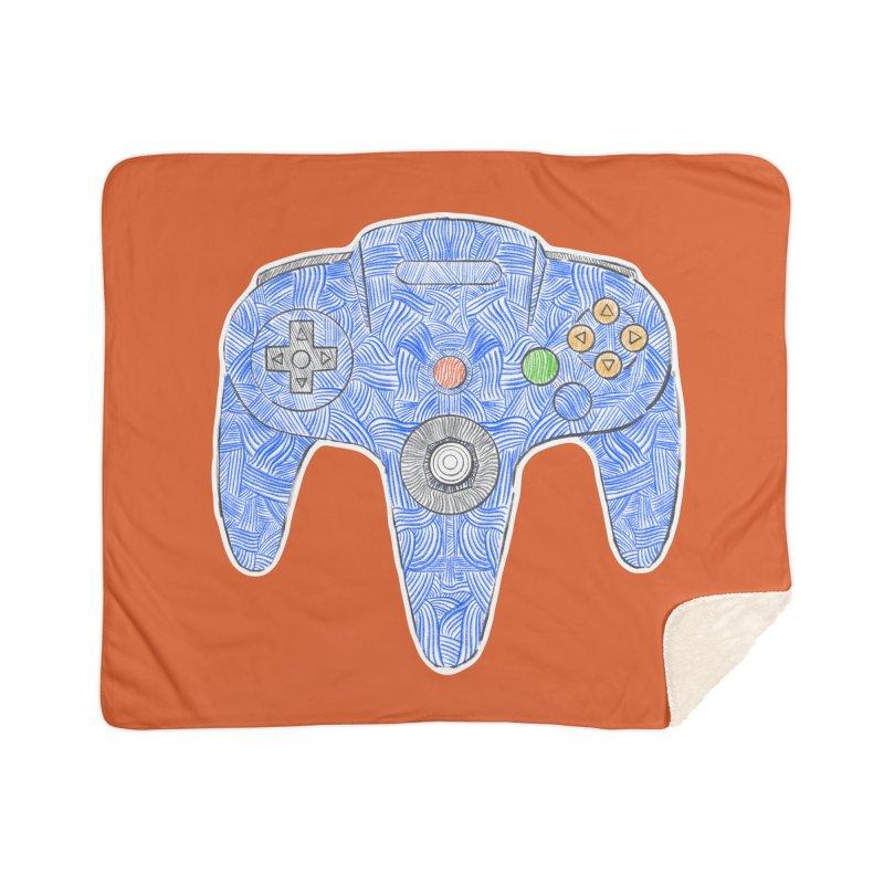 Gamepad SixtyFour - Blue Home Blanket by Krist Norsworthy Art & Design