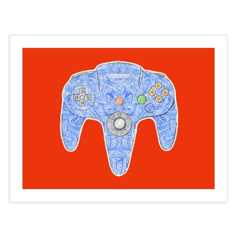 Gamepad SixtyFour - Blue Home Fine Art Print by Krist Norsworthy Art & Design