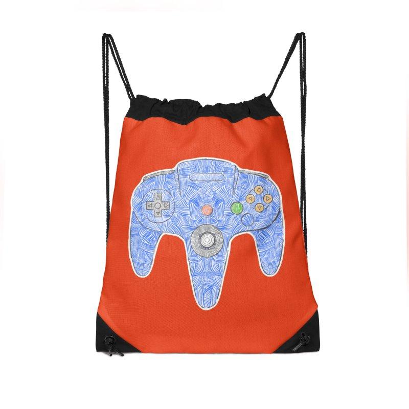 Gamepad SixtyFour - Blue Accessories Drawstring Bag Bag by Krist Norsworthy Art & Design