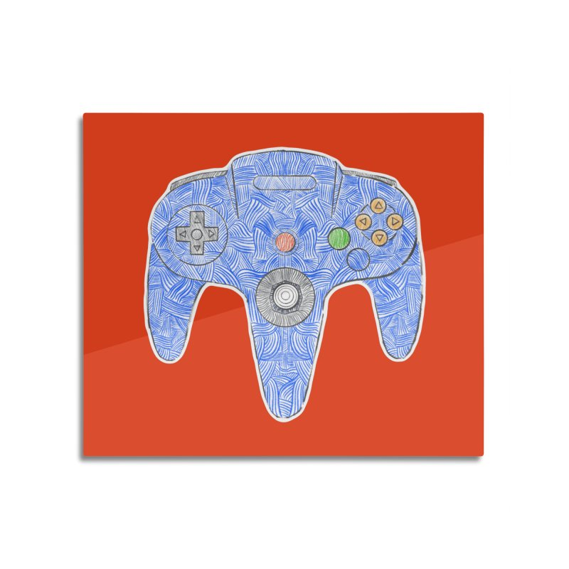 Gamepad SixtyFour - Blue Home Mounted Aluminum Print by Krist Norsworthy Art & Design