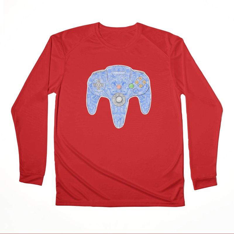 Gamepad SixtyFour - Blue Men's Performance Longsleeve T-Shirt by Krist Norsworthy Art & Design
