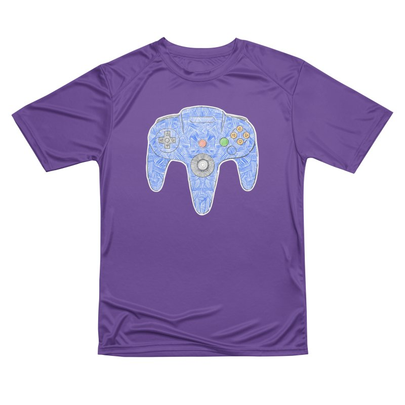 Gamepad SixtyFour - Blue Women's Performance Unisex T-Shirt by Krist Norsworthy Art & Design