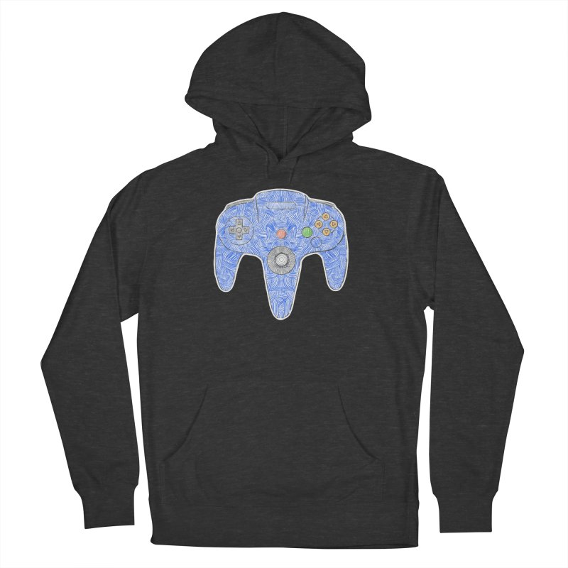 Gamepad SixtyFour - Blue Women's French Terry Pullover Hoody by Krist Norsworthy Art & Design