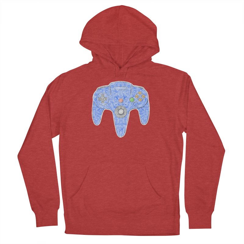 Gamepad SixtyFour - Blue Men's French Terry Pullover Hoody by Krist Norsworthy Art & Design
