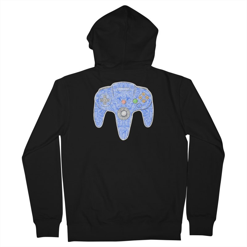 Gamepad SixtyFour - Blue Men's French Terry Zip-Up Hoody by Krist Norsworthy Art & Design