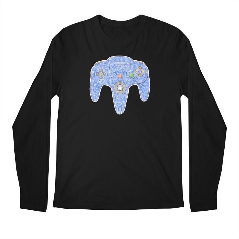 Gamepad SixtyFour - Blue Men's Regular Longsleeve T-Shirt by Krist Norsworthy Art & Design