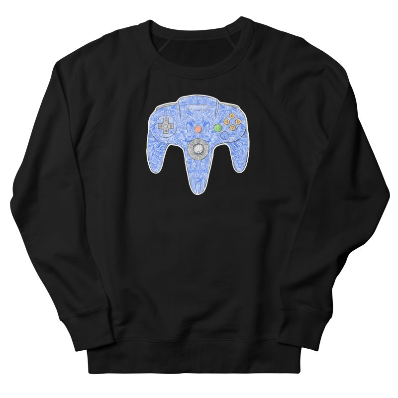 Gamepad SixtyFour - Blue Women's French Terry Sweatshirt by Krist Norsworthy Art & Design