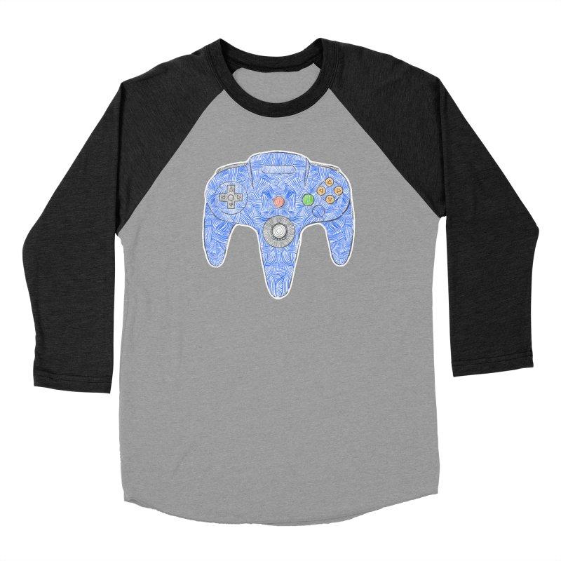 Gamepad SixtyFour - Blue Women's Baseball Triblend Longsleeve T-Shirt by Krist Norsworthy Art & Design