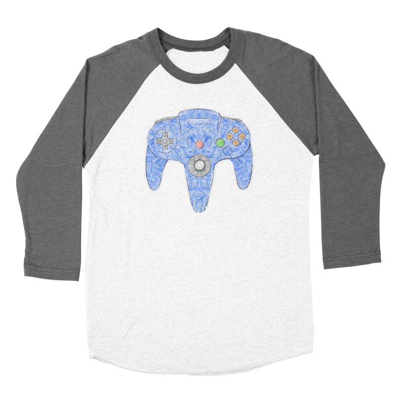 Gamepad SixtyFour - Blue Men's Baseball Triblend Longsleeve T-Shirt by Krist Norsworthy Art & Design