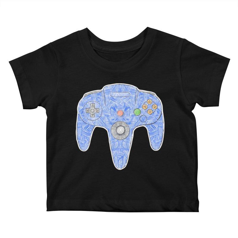 Gamepad SixtyFour - Blue Kids Baby T-Shirt by Krist Norsworthy Art & Design