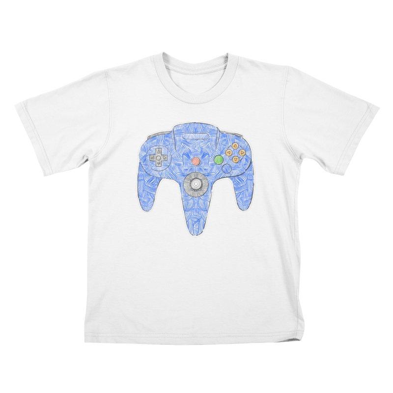 Gamepad SixtyFour - Blue Kids T-Shirt by Krist Norsworthy Art & Design