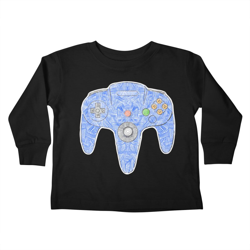Gamepad SixtyFour - Blue Kids Toddler Longsleeve T-Shirt by Krist Norsworthy Art & Design