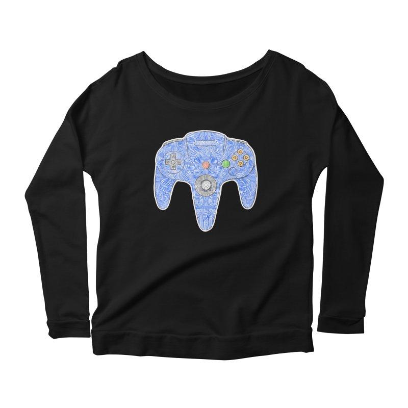 Gamepad SixtyFour - Blue Women's Scoop Neck Longsleeve T-Shirt by Krist Norsworthy Art & Design