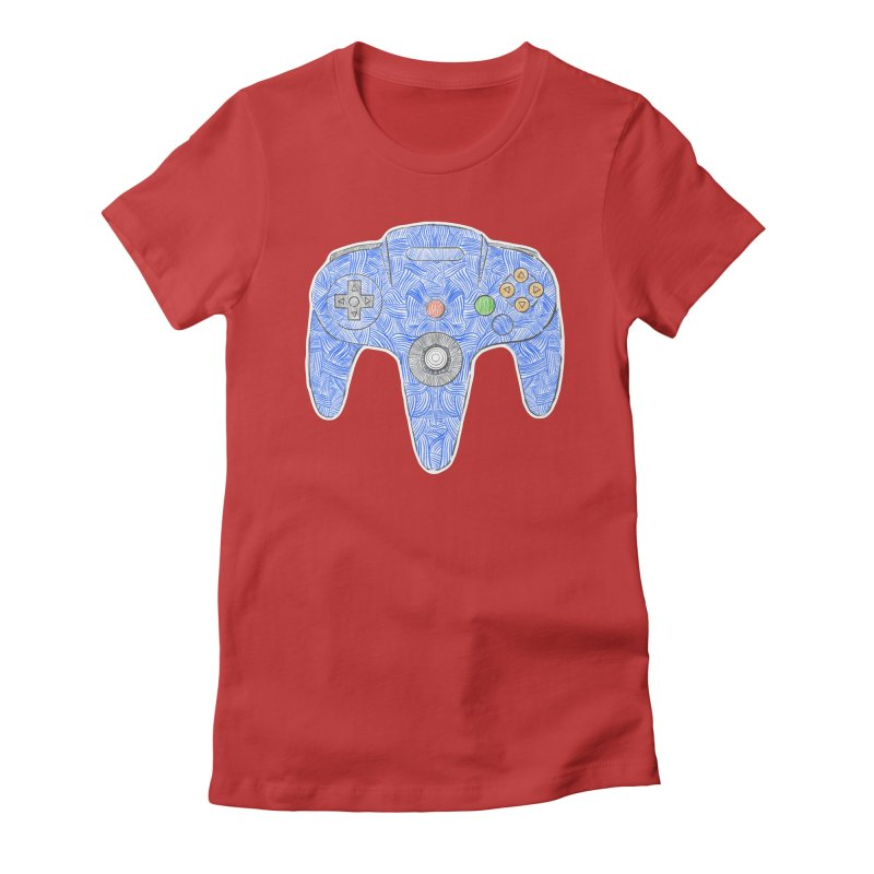 Gamepad SixtyFour - Blue Women's Fitted T-Shirt by Krist Norsworthy Art & Design