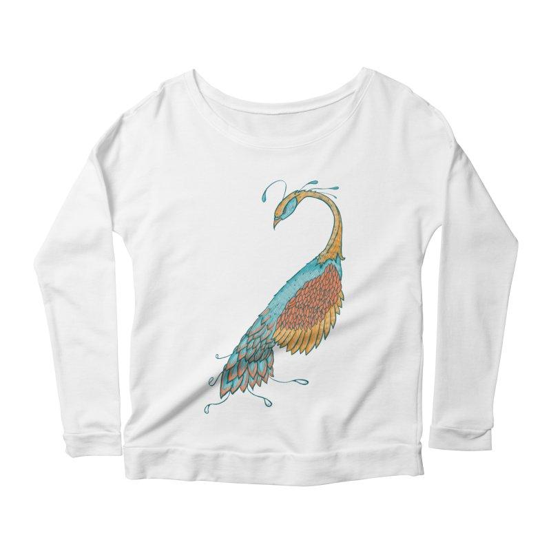 Peacock Women's Scoop Neck Longsleeve T-Shirt by Krist Norsworthy Art & Design