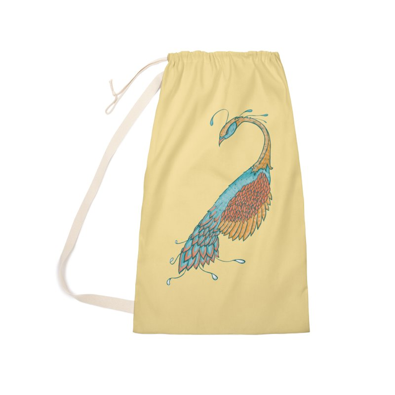 Peacock Accessories Laundry Bag Bag by Krist Norsworthy Art & Design