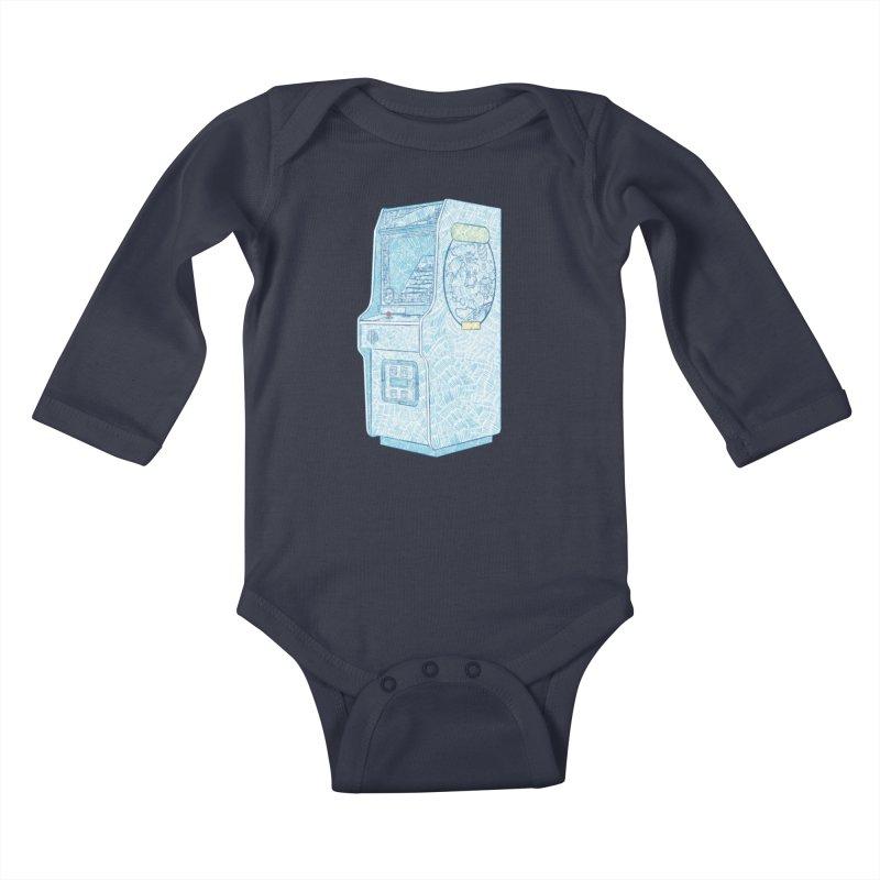 Retro Arcade Cabinet Kids Baby Longsleeve Bodysuit by Krist Norsworthy Art & Design