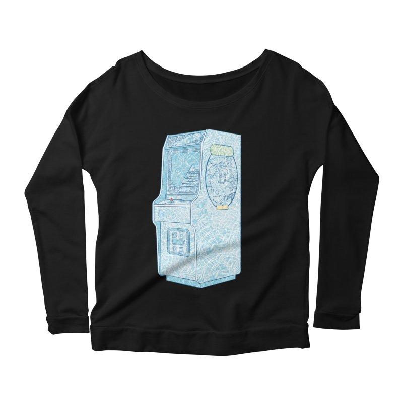 Retro Arcade Cabinet Women's Scoop Neck Longsleeve T-Shirt by Krist Norsworthy Art & Design