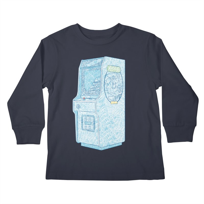 Retro Arcade Cabinet Kids Longsleeve T-Shirt by Krist Norsworthy Art & Design
