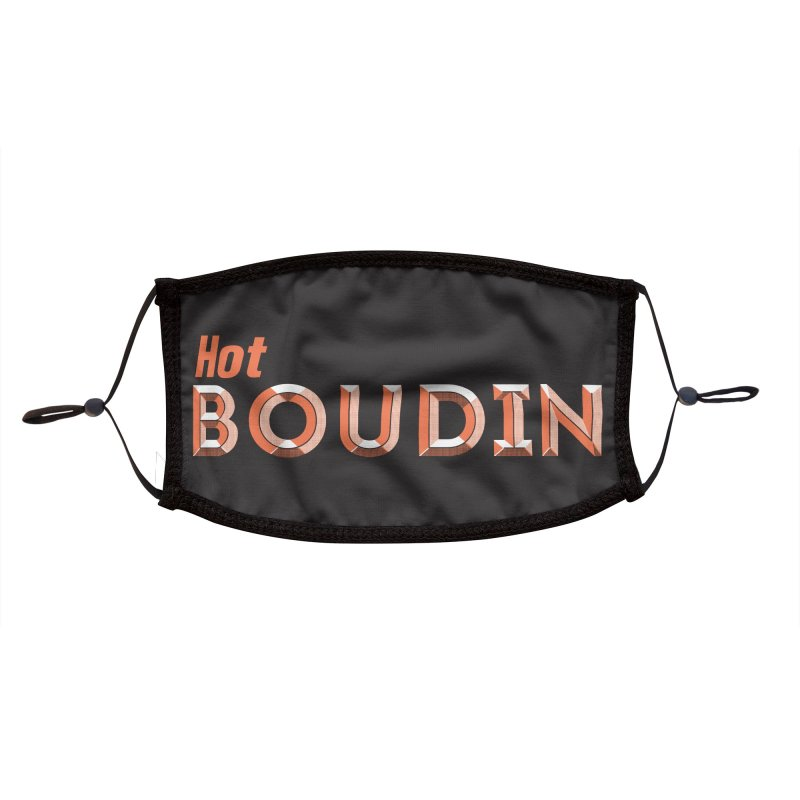 Hot Boudin  (Louisiana Signs Series) Accessories Face Mask by Krist Norsworthy Art & Design