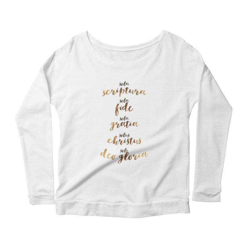 Five Solas of the Reformation Women's Scoop Neck Longsleeve T-Shirt by Krist Norsworthy Art & Design