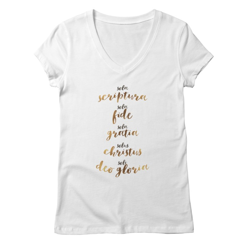 Five Solas of the Reformation Women's Regular V-Neck by Krist Norsworthy Art & Design