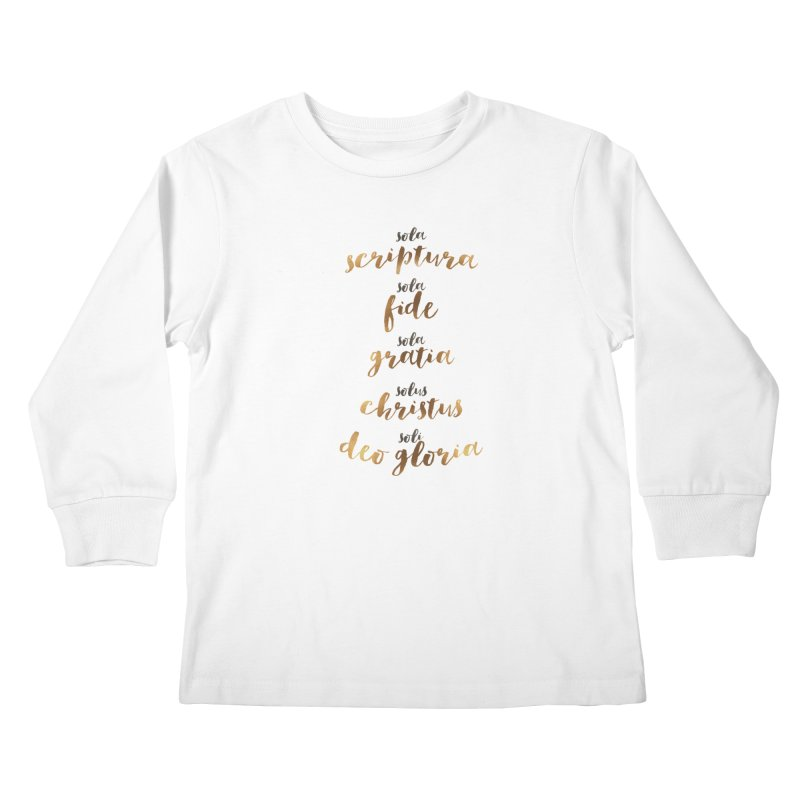 Five Solas of the Reformation Kids Longsleeve T-Shirt by Krist Norsworthy Art & Design