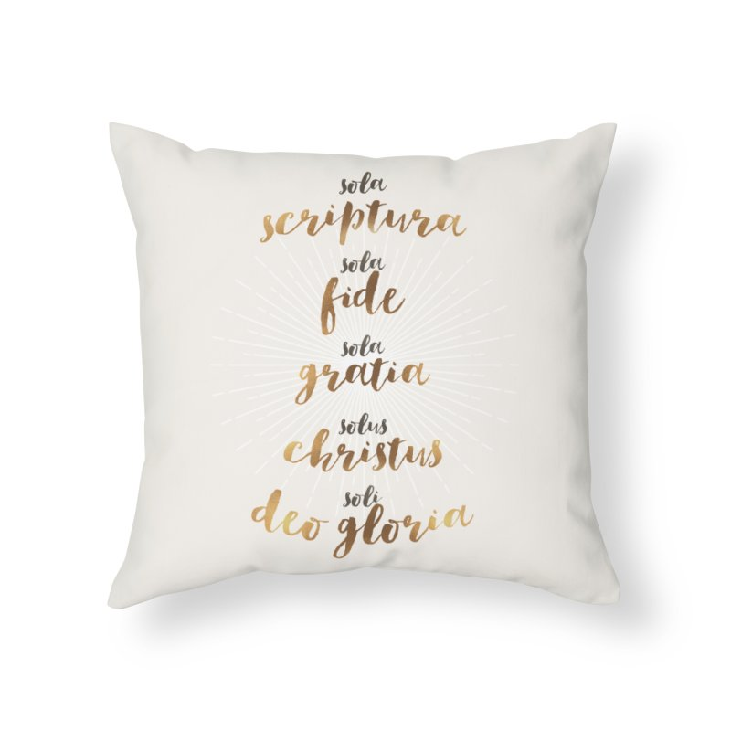 Five Solas of the Reformation Home Throw Pillow by Krist Norsworthy Art & Design