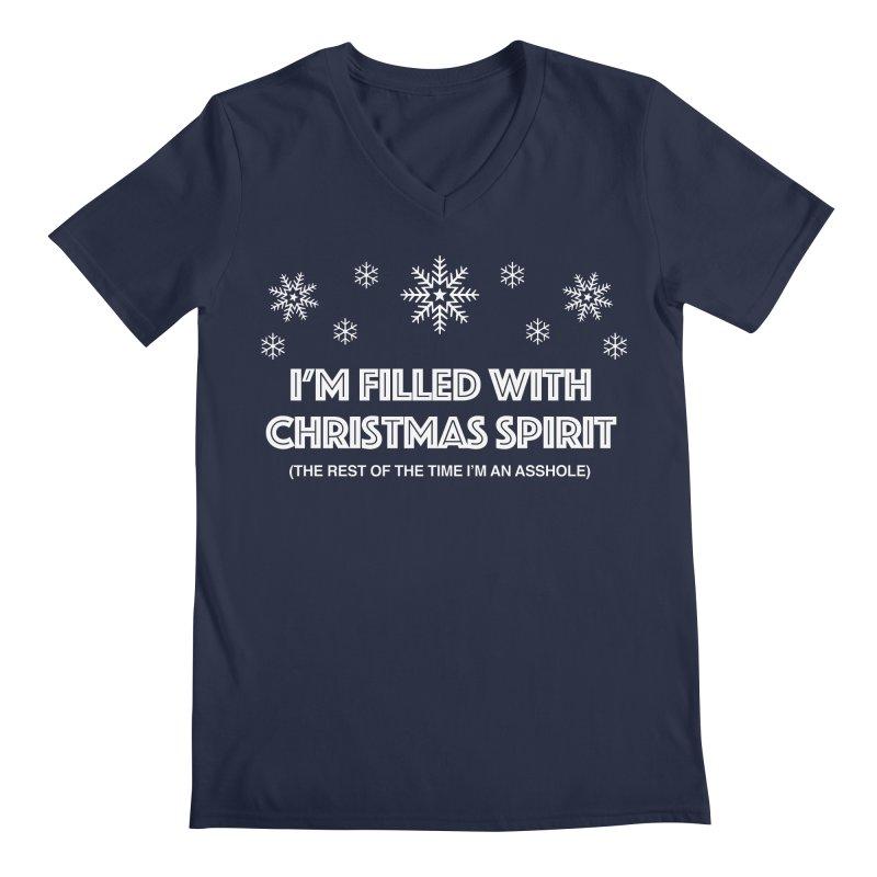 Christmas Spirit Men's Regular V-Neck by Kristy and Luke's Shop of Mostly Horrible Things