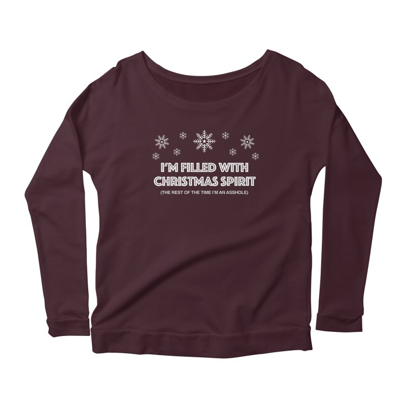 Christmas Spirit Women's Scoop Neck Longsleeve T-Shirt by Kristy and Luke's Shop of Mostly Horrible Things