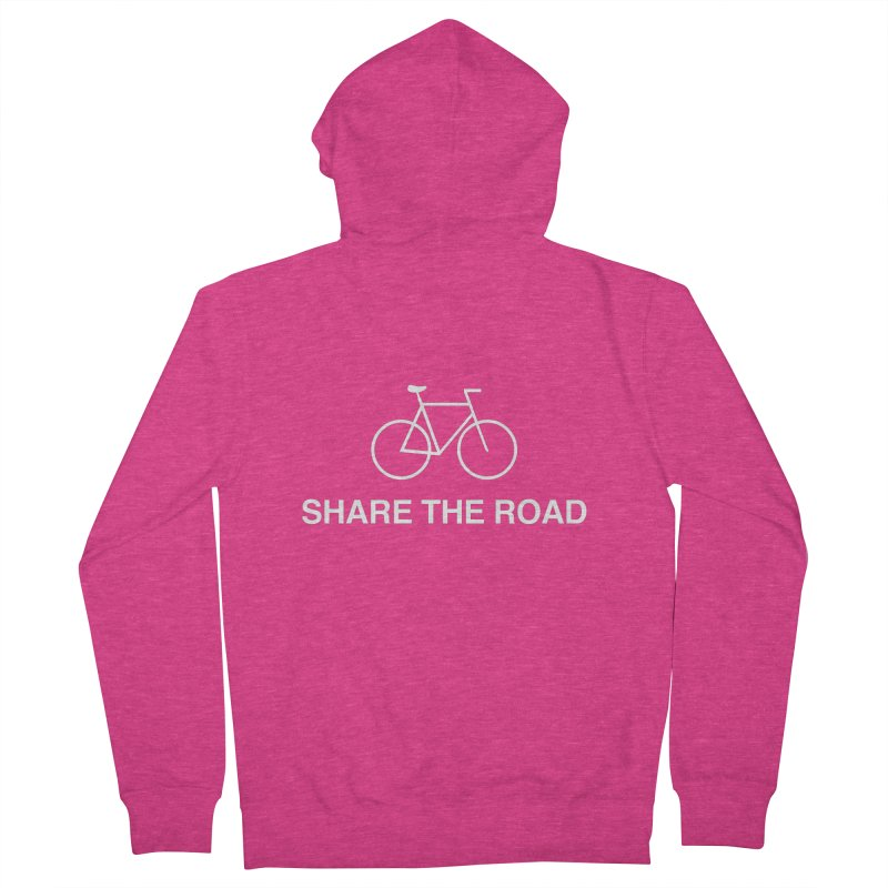 Share the Road in Women's French Terry Zip-Up Hoody Heather Heliconia by Kristy and Luke's Shop of Mostly Horrible Things